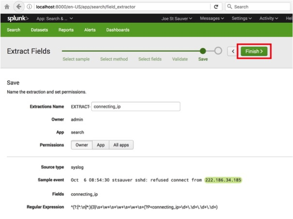 Confirming the Extract Fields in Splunk