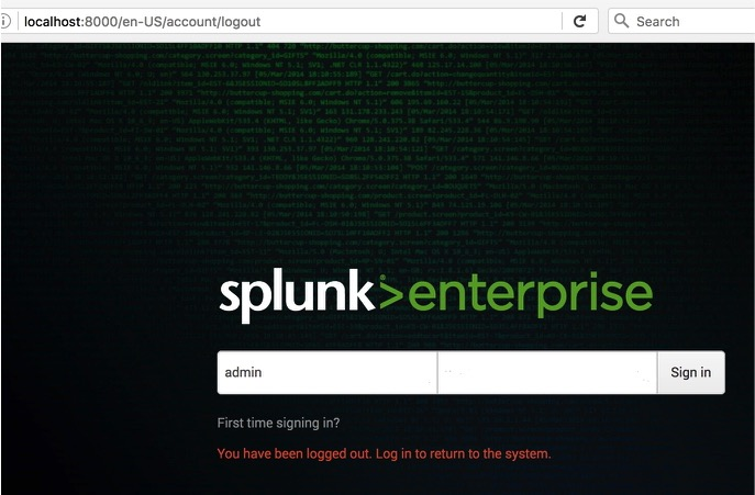 Splunk Enterprise startup screenshot