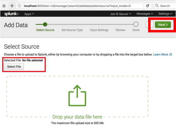 Selecting source of data for Splunk