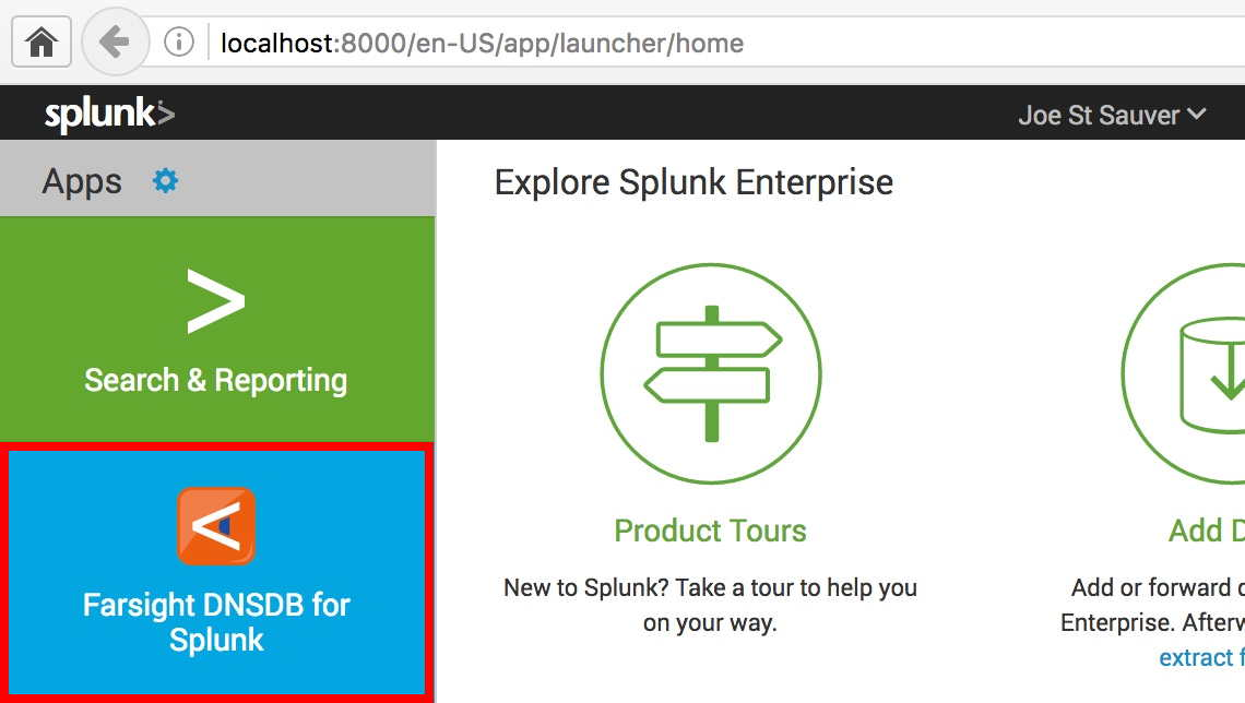 Starting Farsight DNSDB for Splunk Ad Hoc Query Interface
