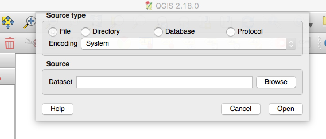 The QGIS Dialog Box to Add A Vector Layer