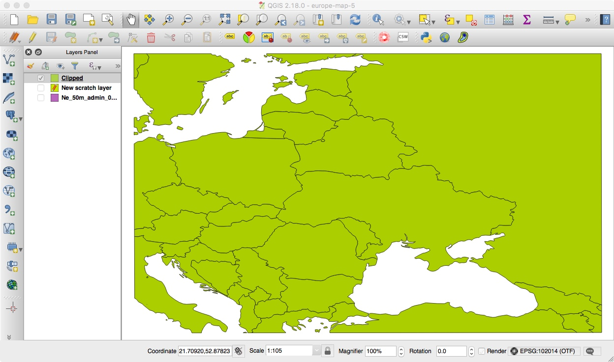 The Clipped Base Map of Eastern Europe in QGIS
