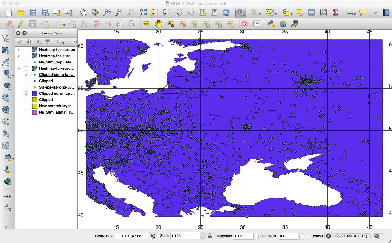 Eastern European map in QGIS with our Geolocated Points and Gridlines