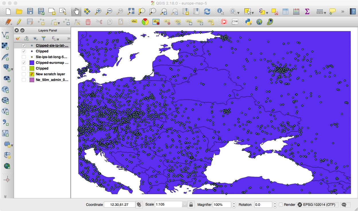 Our Geolocated Points, Clipped To Just Our Region of Interest in QGIS