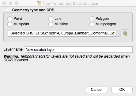 Creating A New Temporary Scratch Layer for Clipping Purposes in QGIS