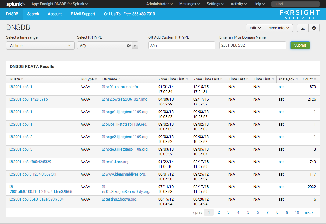 Splunk screenshot - IPv6