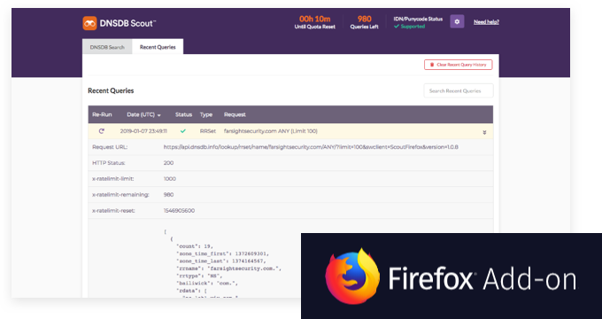 DNSDB Scout for Firefox